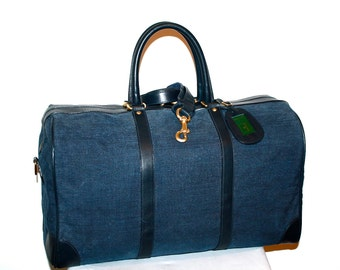 GUCCI Vintage Duffle Handbag Denim Navy Leather Large Travel Tote  - AUTHENTIC -
