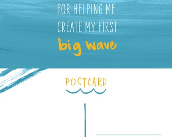 First Birthday Party - Big Wave Thank You Postcard