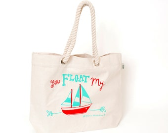 SAVE 50% You Float My Boat Fairtrade Beach Bag - Screen Printed Bag - Fair Trade Tote