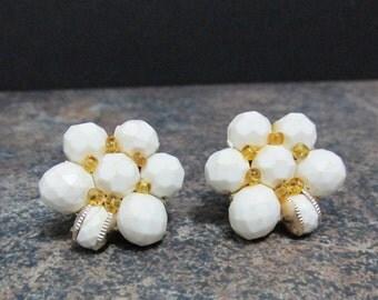 Vintage Earrings: White Bead Clusters, Western Germany
