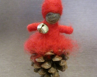 Needle felted ornament,  Pine Cone Elf, Waldorf Nature Table, Winter, Christmas ornament, red, Original Design by Borbala Arvai