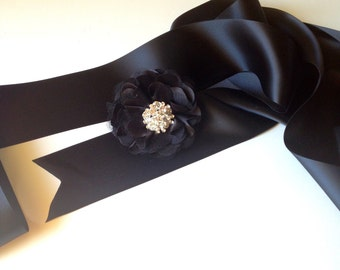 Jeweled satin sash and flower clip and pin. Weddings, special occasion or holiday accessory. Your choice of 15 colors.