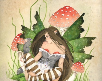 Fairy Art Print - Little Friend - fantasy. fairy art. watercolor print. whimsical. mouse. cute. woodland. mushrooms.