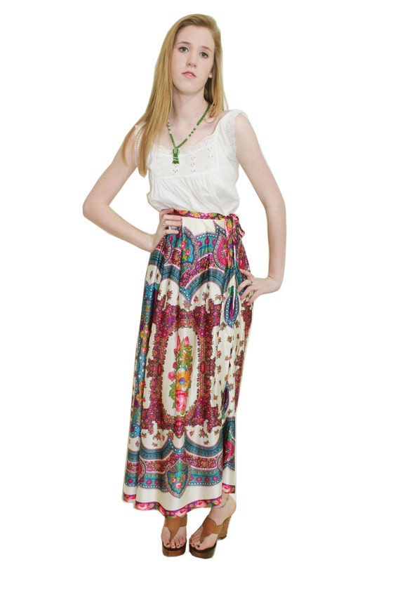 70s Maxi Skirt Hippie Ornate Small S Vintage 1970s Ethnic Bright Floral Side Slit Silky Long