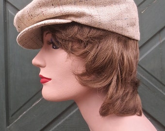 "Vintage ARTEL""A Hat with a Pedigree"" Blond Tweed Driving Cap Golf Hat Newsboy Cap"