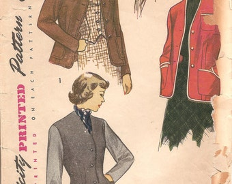 1940s Womens Jacket and Weskit Pattern - Vintage Simplicity 2936 - Bust 34