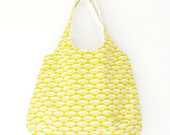 Large Shoulder Bag + Zipper Pouch- White Waves on Yellow