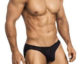 Studly Black Glitter Erotic Bikini Underwear for Men by Vuthy Sim - 455