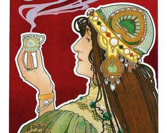 "Vintage Fine Art Giclée  Reproduction ""Rajah""  Art-Nouveau c1898-12""x 22"""