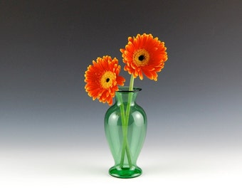 Green Vase with Wide Mouth, Hand Blown Glass