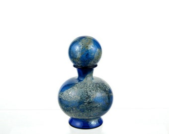 Blue and Silver Perfume Bottle, Hand Blown Glass