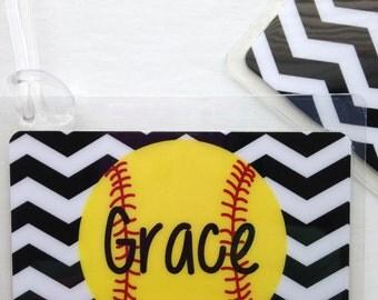 Softball Mom Bag Tag Softball Bag Tag Chevron Softball Bag Tag Chevron Bag Tag Softball Party Favor Softball Gift Softball Coach Gift