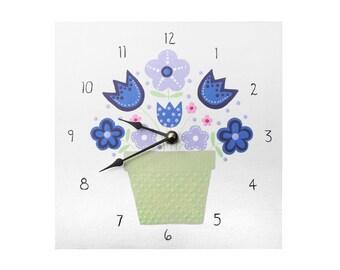 Children's Clock - Custom Hand Painted Kids Wall Clock - Purple Flowers or Any Room Decor Theme