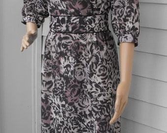 Retro Dress 80s Floral Print Beige Brown Black Vintage 1980s M L