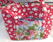 SALE Teapots,Teacups & Roses Quilted Tote Bag,Red Pink FlowersHigh Tea,Quilted Inside/Out,Eleven Multiple Pockets,Key Clip,Vera Bradley Like