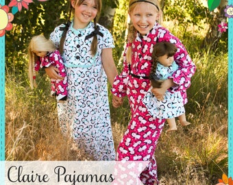 PDF Girls Pajama Pattern - Claire Pajamas Pattern, Size 6 Month - 10 Years by The Cottage Mama