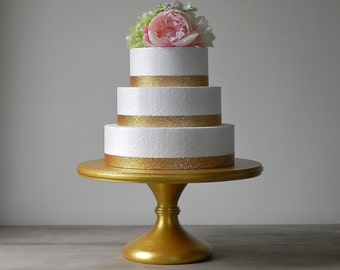 "Gold Cake Stand 12"" Cupcake Stand Gold Cake Topper Pedestal Stand Wedding Decor E. Isabella Designs Featured In Martha Stewart Weddings"