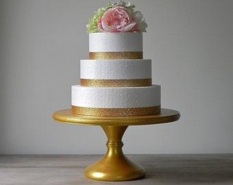 "Gold Cake Stand 12"" Cupcake Stand Gold Cake Topper Pedestal Stand Wedding Decor E. Isabella Designs Featured In Martha Stewart Weddings"