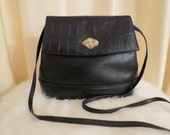 Vintage Hermes Leathergoods Leather 60s Black Handbag Shoulder Bag Clutch