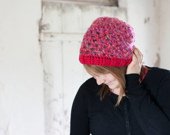 Slouchy winter hat crocheted lacy hat in red and pink