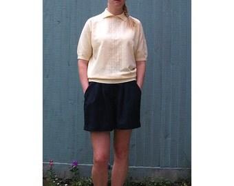 Vintage Knit Blouse in Pastel, Custard Yellow - Large
