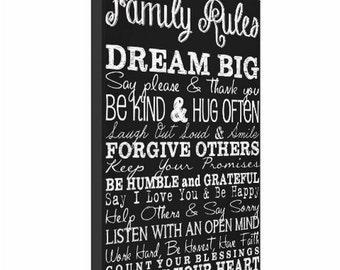 Typography Canvas Print, 18x24, Family Rules, Personalized Canvas Print, Canvas Decor, Canvas Art, Typography, Subway Sign, Wall Decor