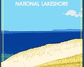 Sleeping Bear Dunes National Lake Shore, Michigan, Vintage Style Wall Art Poster 12x16