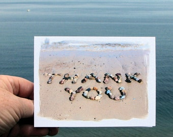 Beach Theme Thank You Cards, Set of 4 Note Cards- words of thanks spelled out with beach stones, beach wedding thank you, summer, beach card