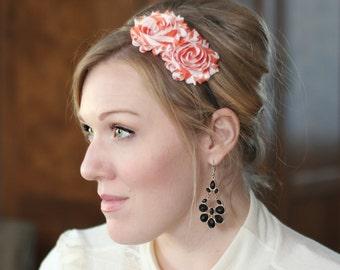 Headband for Women, Shabby Flower Headband in Orange Stripes