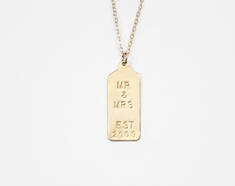 Hand Stamped Necklace - Rectangle Tag - MR and MRS Custom Tag - As Seen In Flutter Mag & The Huffington Post