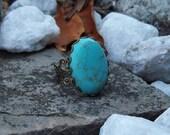 SALE - Turquoise Gemstone Ring - Large Cabochon Ring - Adjustable Bronze Filigree Lace Band Ring - Bohemian - Gypsy Ring
