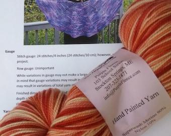 Masquerade Shawl Kit featuring Purple Fleece Superwash Merino Sock Yarn