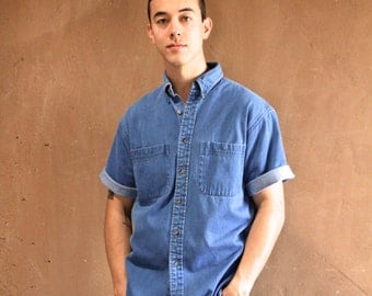 DENIM blue 90s TWIN PEAKS long sleeve cotton button up