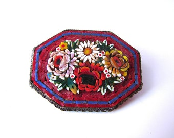 Vintage Mosice 1920s Pin - Italian 20s Mosaic Red Bouquet Floral Brooch - on sale