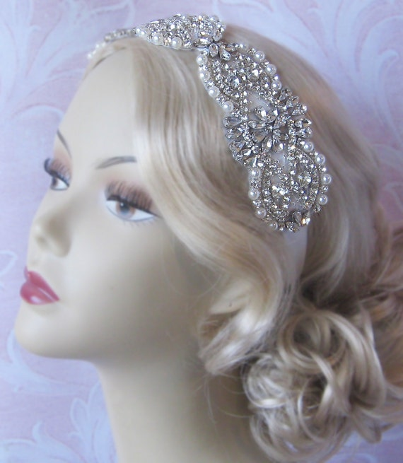 Crystal and Pearl Bridal Headband, Rhinestone Wedding Head Piece, Rhinestone and Pearl Headband - AMELIE HEADBAND