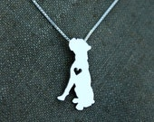 Boxer necklace, tiny sterling silver hand cut dog pendant with heart
