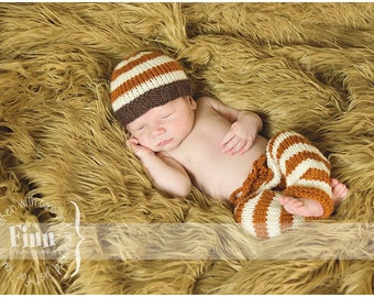 Newborn Knit Pants Hat Set, Baby Knitted Night Cap, Fall Colors, Infant Photo Prop, Diaper Cover, Longies, Pumpkin, Chocolate,Cream, Autumn