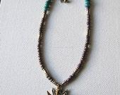 Arrowhead necklace | bird | beaded | turquoise | pendant