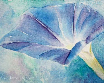 watercolor flower art - Blue Morning Glory - Mother's Day Victorian - giclee print - ocean pastel blues - 8x12