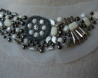 White Tulle Beaded Neckline Applique Embellishment Necklace  White Beads Silver Beads Metal Beads hite Dress Bridal Lace Collar S118