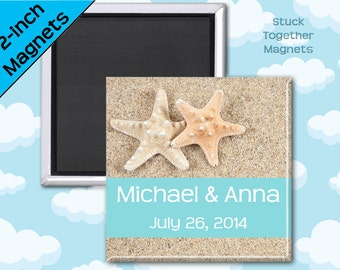 Starfish Wedding Favor Magnets - 2 Inch Squares - Set of 10 Magnets