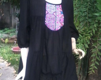 Cotton Hemp ruffle dress blouse for women Plus size XL XXL maternity Black made to order