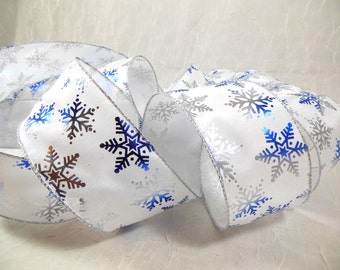 Holiday Ribbon Indigo Blue and Silver Foil Snowflakes on White Satin Wire Edge Wide Width