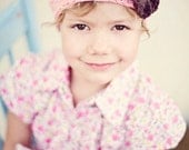 Pink Girl's Beanie, Crochet Hats for Girls, Beanie Hat with Flower, Pink and Brown Hat, Cotton, 5T to Preteen