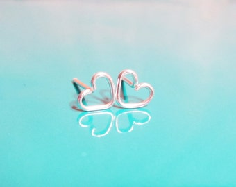 Tiny Silver Heart Earrings, Rose Gold Heart Stud Earrings, Gold heart Studs, Heart Post Earrings, Valentine's Day Gift