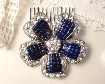 Navy Blue Wedding Dress Sash Brooch OR Hair Comb Sapphire Rhinestone Vintage Bridal Accessory 1920 Silver Headpiece Hairpiece Something Blue