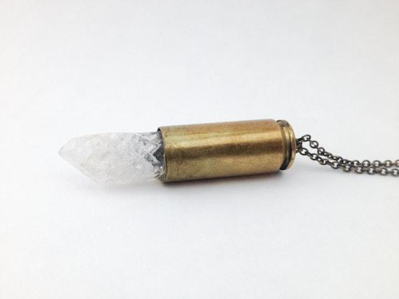 XL Crystal Bullet Necklace- OOAK