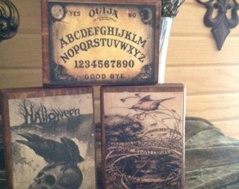 Set of 3 Primitive Halloween Wood Blocks featuring Ouija Board and Skulls  Statteam OFG HaFair