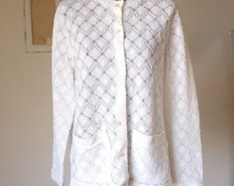 Vintage 60s White Sweater, White Cardigan, Lacy Cardigan, Sheer, Knit, Crochet, Size Medium, Bust 38, Vegan, Vegan Friendly