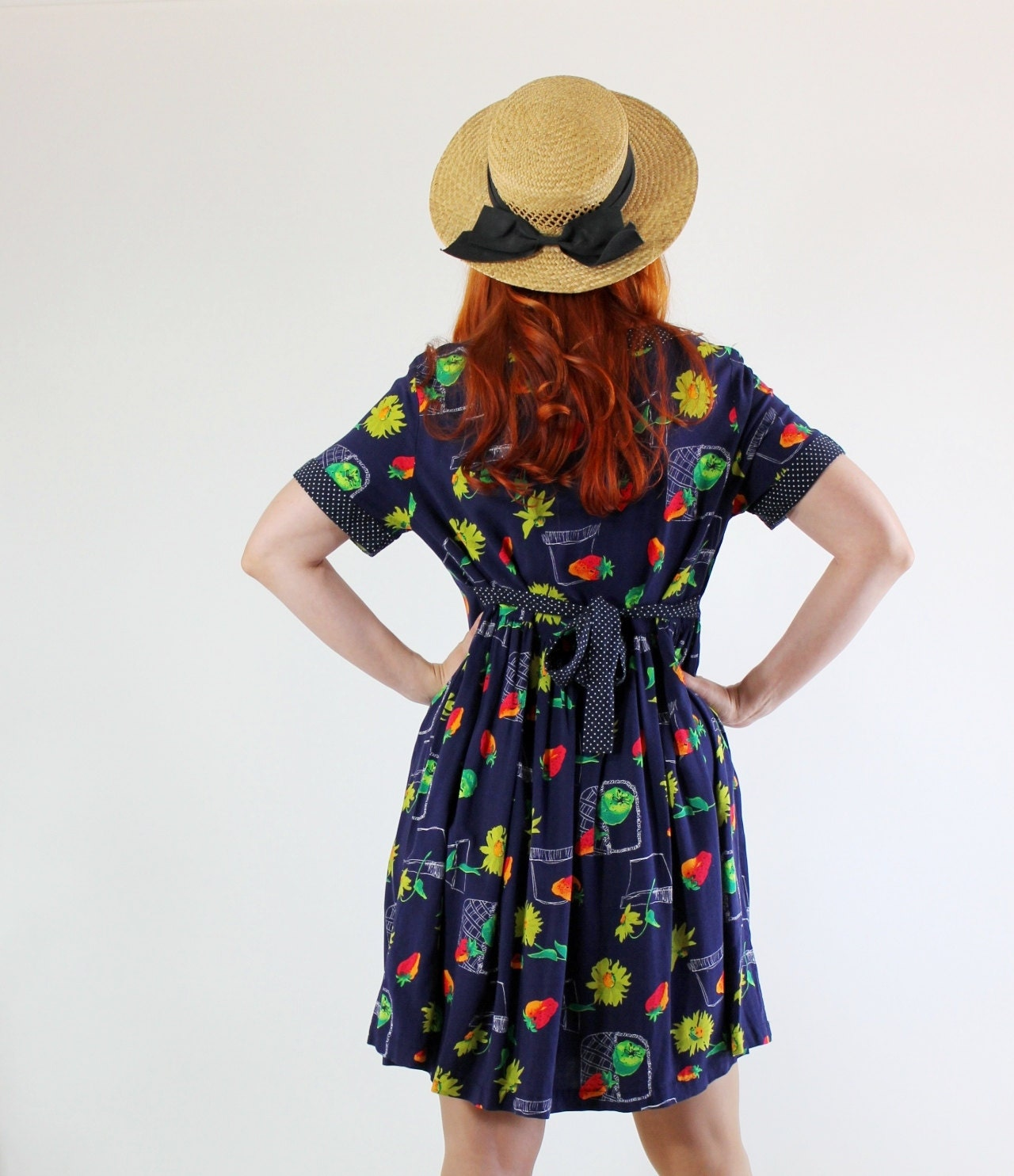 Vintage 1980s Floral Strawberries Print Blue Dress. Day Dress. Folk. Country. Spring. Summer